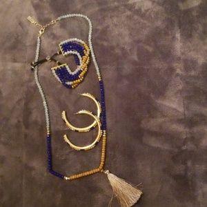 3 piece Jessica Simpson hoops bracelet necklac
